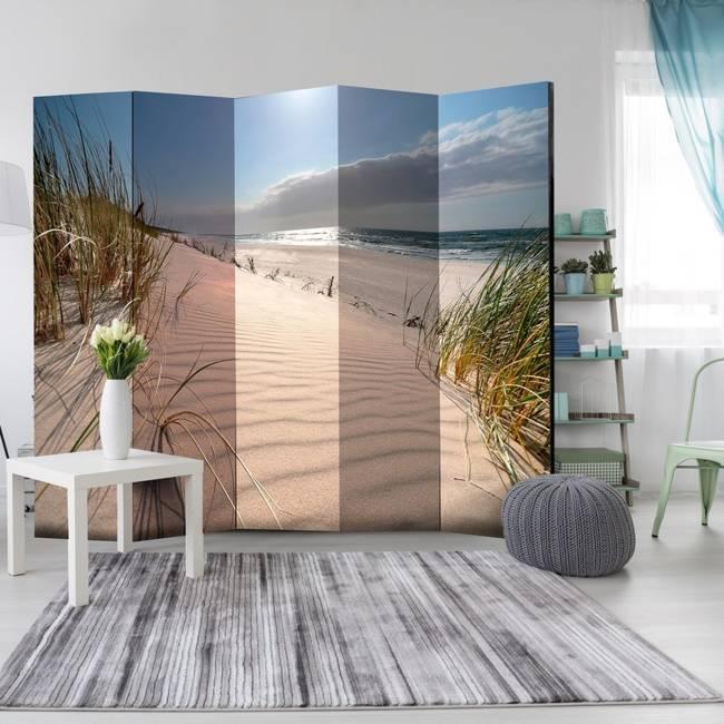 Parawan 5-częściowy - Plaża w Mrzeżynie II [Room Dividers]