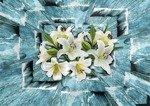 Fototapeta Abstrakcja niebieskie deski - kwiaty 3720