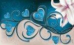 Fototapeta Lilia z sercami na niebieskim tle 704
