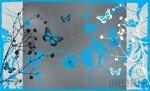 Fototapeta Niebieskie motyle i kwiaty 884