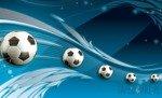 Fototapeta Piłki nożne na niebieskim tle 3385