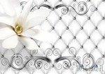 Fototapeta Srebrny pikowany wzór i kwiaty 10305