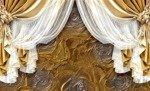 Fototapeta Złota zasłona na różanym tle 3562
