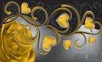 Fototapeta Żółta róża z sercami 710