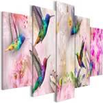 Obraz - Kolorowe kolibry (5-częściowy) szeroki różowy