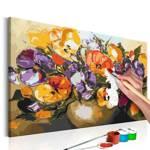 Obraz do samodzielnego malowania - Bratki w wazonie